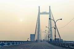Vidyasagar Setu,最长的缆绳-被停留的桥梁在印度 免版税图库摄影