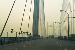 Vidyasagar Setu,最长的缆绳-被停留的桥梁在印度 库存图片