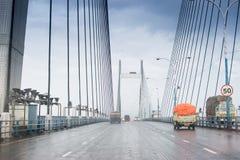 Vidyasagar Setu,最长的缆绳-被停留的桥梁在印度 图库摄影