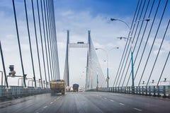 Vidyasagar Setu,最长的缆绳-被停留的桥梁在印度 免版税库存图片