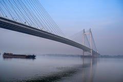 Vidyasagar Setu Bridge, Hooghly-Rivier, Kolkata, West-Bengalen, Ind. royalty-vrije stock foto