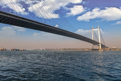 Vidyasagar Setu den längsta kabelbron i Indien på floden Hooghly arkivbilder