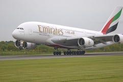 Vie aeree A380 degli emirati Immagine Stock