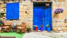 Vie affascinanti di vecchi villaggi tradizionali dell'isola del Cipro Immagine Stock Libera da Diritti