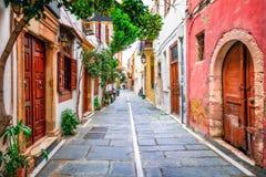 Vie affascinanti di vecchia città in Rethymno Isola del Crete, Grecia Fotografie Stock Libere da Diritti