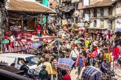 Vie ammucchiate di Kathmandu Fotografie Stock Libere da Diritti
