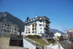Vie Chamonix-Mont-Blanc, Francia Chamonix-Mont-Blanc è una stazione sciistica di fama mondiale nelle alpi francesi Fotografia Stock