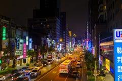 Vie Colourful di notte di Taipei Fotografia Stock Libera da Diritti