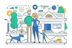 Vie de famille - ligne composition en conception Images stock