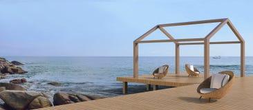 Vie de plage - échouez la chaise longue et la vue de mer belles Image stock