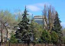 Vie della città di Almaty in primavera Immagine Stock