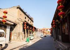 Vie della città di vecchia scena-Taigu della città di Taigu vecchie e vecchie costruzioni commerciali fotografie stock