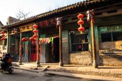 Vie della città di vecchia scena-Taigu della città di Taigu vecchie e vecchie costruzioni commerciali fotografia stock libera da diritti