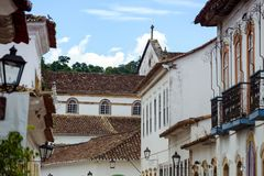 Vie della città storica Paraty Brasile Fotografie Stock Libere da Diritti
