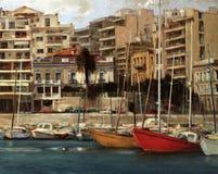 Vie di Atene, Grecia, pitture fatte a mano Fotografie Stock