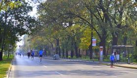 Vie di maratona della città di Sofia Fotografie Stock