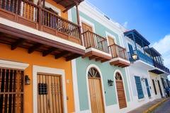 Vie di vecchia città di San Juan, Porto Rico Fotografia Stock