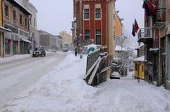 Vie di Veliko Tarnovo nell'inverno Fotografie Stock Libere da Diritti