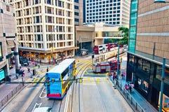 Vie e traffico nel centro finanziario di Hong Kong Immagini Stock