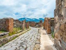 Vie e ville di Pompei, Italia Lista del patrimonio mondiale immagine stock