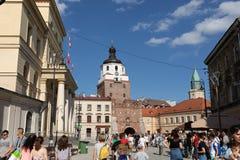 Vie ed architettura di vecchia città di Lublino Fotografia Stock Libera da Diritti