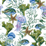 Vie marine d'aquarelle de vintage d'été sans couture Illustration Libre de Droits
