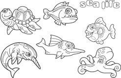 Vie marine drôle d'images de bande dessinée Photos stock