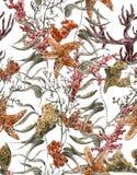 Vie marine minable d'aquarelle de vintage sans couture illustration stock