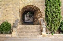 Vie nella città spagnola storica di Gerona Fotografia Stock