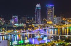Vie nocturne de ville de Danang Photographie stock libre de droits