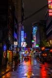 Vie posteriori di Taipei alla notte Fotografia Stock