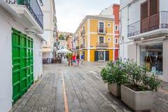 Vie storiche del ` Eivissa del porto d di Ibiza fotografia stock