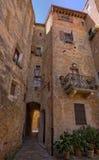 Vie strette di Pienza, Toscana Fotografie Stock Libere da Diritti