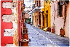 Vie variopinte affascinanti di vecchia città in Rethymno, isola di Creta, Fotografie Stock