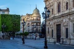Vie vuote di Siviglia, Spagna fotografia stock libera da diritti