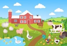 Vieh mit Landschaft Pferdeschweinenten-Hühnerschafe Karikaturdorf für Kinderbuch Bauernhofhintergrundszene lizenzfreie abbildung