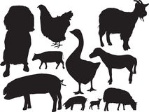 Vieh sihouette Set Lizenzfreie Stockfotografie