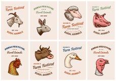 Viehkarten Kopf eines Hausschweinziegenkuh-Kaninchenschafs Weinlese-Schablonenlogos oder -embleme für Schild set lizenzfreie abbildung