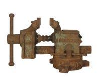 Vieil étau rouillé de métal ouvré fabriqué en URSS, d'isolement sur le CCB blanc Images libres de droits