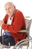 Vieil aîné dans le fauteuil roulant Photos stock
