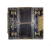 Vieil accordéon d'isolement Harmonique de vintage Rétro accordéon de bouton photo stock