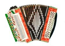 Vieil accordéon d'isolement sur le fond blanc photo libre de droits