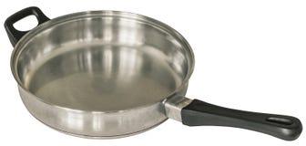 Vieil acier inoxydable résistant frangeant Pan Isolated On White Background Image libre de droits