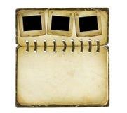 Vieil album avec des glissières sur le fond d'isolement illustration libre de droits