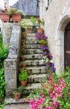Vieil amener en pierre d'escaliers décoré des fleurs Images libres de droits