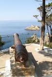 Vieil amiral Ushakov de canon en île Corfou Photo stock