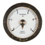Vieil ampèremètre avec le pivot central d'indicateur Image stock