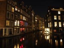 Vieil Amsterdam par nuit Image libre de droits