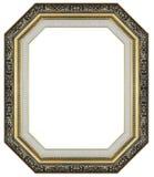 Vieil or antique et support en bois découpé décoratif d'isolement par cadre noir image stock