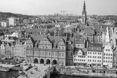 Vieil aperçu de ville de Danzig Images libres de droits